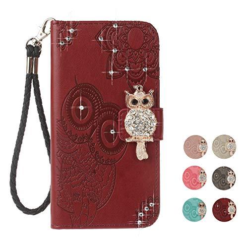 E-Panda iPhone 5 5S SE Hülle Rot braun Mandala Eule Muster Glitzer Design PU Leather Wallet Cover Flip klappbar Case Handyhülle Lederhülle Tasche Etui schutzhülle mit Kartenfach (Iphone 5s Case Eule Design)