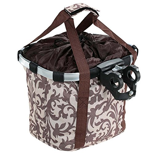 Docooler Damen Fahrradkorb/Fahrradkorb Shopper, Material: Aluminiumlegierung und Oxford Tuch, Größe: 34 * 28 * 25cm Coffee