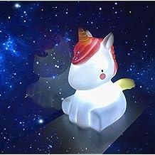 Luz unicornio nocturna, MMTX LED Cute PVC Unicornio en forma de lámpara animal, Kids Bedside 3D Marquee Unicornio Home Decorations Light para Baby Bedroom Nursery Party y Wedding.