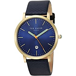 Ted Baker Men's 'GRAHAM' Quartz Stainless Steel and Canvas Dress Watch, Color:Blue (Model: 10031494)