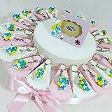 Bomboniere Disney Nascita Battesimo Maschio o Femmina a seconda della Scelta selezionata (Torta 20 FETTE + 20 Portachiavi + 1 Cornice+ Confetti Rosa Portachiavi puffetta)