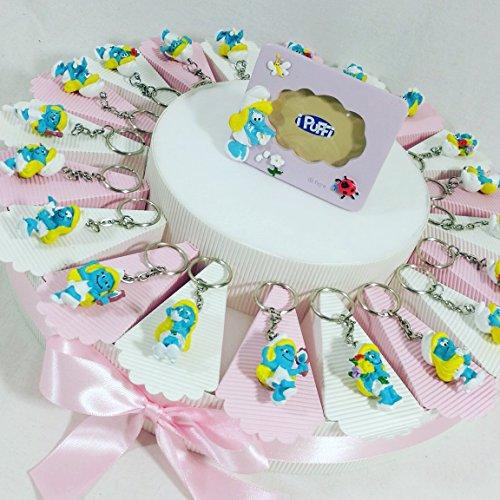 Sindy bomboniere bomboniere disney nascita battesimo maschio o femmina a seconda della scelta selezionata (torta 20 fette + 20 portachiavi + 1 cornice+ confetti rosa portachiavi puffetta)