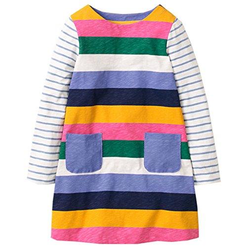 Mooler Mädchen Rundhalsausschnitt Langarm T-Shirt Kleider Regenbogen Streifen A-Linie Kleid ,Mehrfarbig , 4 Jahre (Kleid Shirt Lila Streifen)