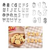 Emporte-pièces alphabet, YooHome Lot de 35 Alphabet et Numéro emporte-pièces pâtisserie en acier inoxydable, emporte-pièces lettres et numéro pour les biscuits, les pâtes à sucre, les gâteaux et etc