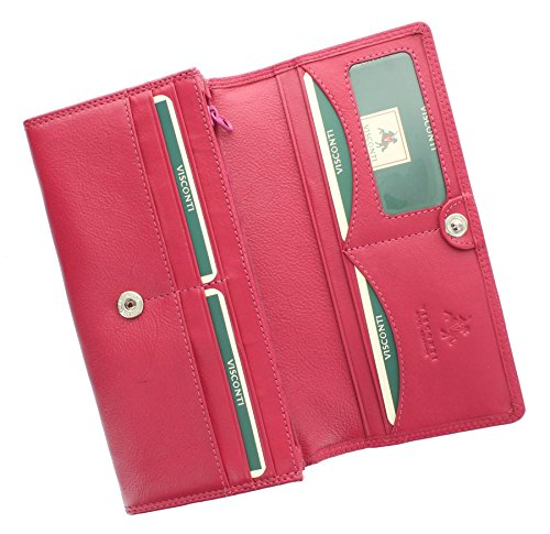 Portafoglio Flap Over in Pelle Visconti Collezione Heritage BUCKINGHAM HT35 Nero Fucsia