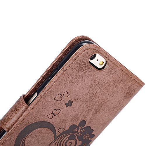 Hülle für iPhone 6S Plus, Tasche für iPhone 6 Plus, Case Cover für iPhone 6 Plus, ISAKEN Blume Schmetterling Muster Folio PU Leder Flip Cover Brieftasche Geldbörse Wallet Case Ledertasche Handyhülle T Herz Blumen Braun