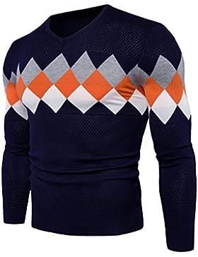 HY-Sweater El Otoño y Invierno Hombres ¿Jersey remeterla la v de Recorte Patrón buchstabiere Color Casual, Azul...