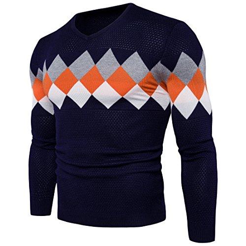 Textur Einfügen (HY-Sweater Herren V-Pullover Herbst und Winter Mäntel Textur einfügen Farbe, Marine, M)