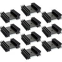 Easycargo 10pcs To-220 Disipador de calor de aluminio 25x34x12mm, Disipador de calor TO220 para uso MOSFET SCR Regulador de voltaje (25mmx34mmx12mm) Negro anodizado 10 paquetes