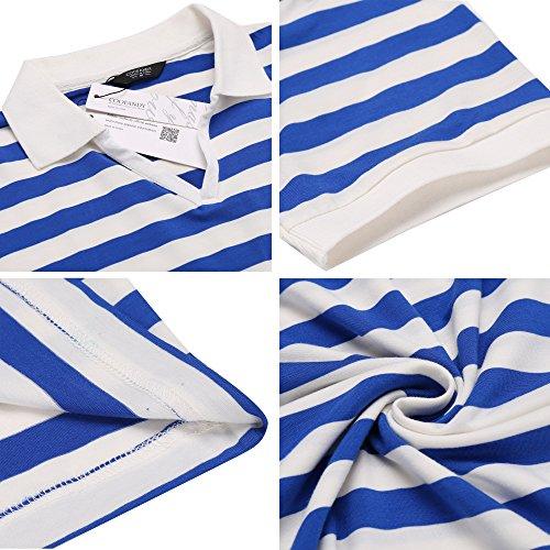 Coofandy Poloshirt Herren Kurzarm Polohemd T-Shirt Gestreift Freizeit Kontrast Blau & Weiß