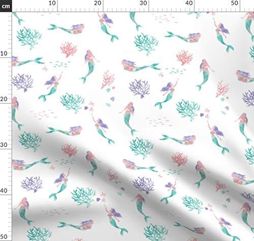 Wasserfarben, Meerjungfrau, Fantasie, Illustriert, Unterwasser Stoffe - Individuell Bedruckt von Spoonflower - Design von Xtinew Gedruckt auf Bio Musselin -