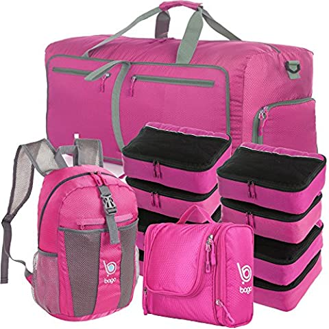 Lightweight Family Travel Set - All the Luggage and Packing Accessories you need (Pink)