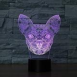 KYJ Nachtlicht Farbwechsel Blinkende Berührungssensorsteuerung Chihuahua Acryl 3D Kleine Hunde Led Nachtlicht Led Usb Tischlampen
