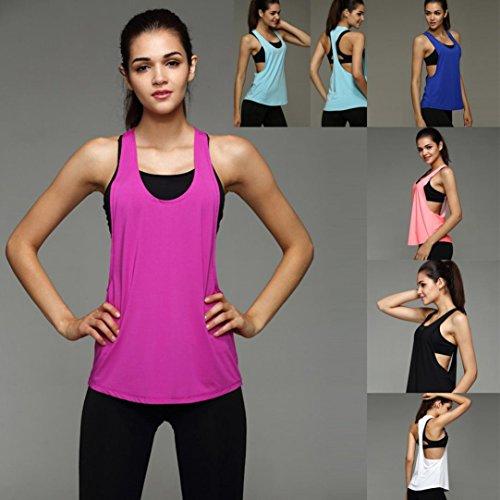 Ansenesna les femmes summer sexy gym sport gilet de formation Rose vive