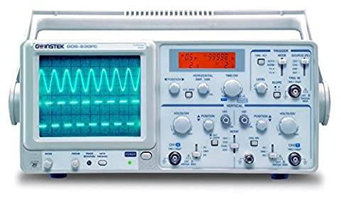 GW Instek GOS-630FC Oscilloscope analogique général avec compteur de fréquence en temps réel LCD à 5 chiffres Bande passante 30 MHz 2 canaux Fonction Autorange de base de temps Déclenchement ALT