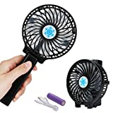 USB Cable Mini Handheld Folding Fan Rechargeable Battery Foldable Portable Electric Table Desk Fan Personal Cooling Conditioner for Outdoor Indoor Office Tabletop Home Room Travelling Sports (Black)