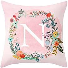 dragonaur rosa patrón de letras manta funda de almohada Funda para cojín sofá cama coche decoración para el hogar, poliéster, One Color, n
