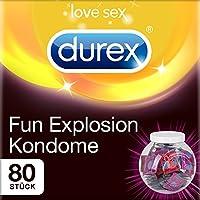 Durex Fun Explosion Kondome – Verschiedene Sorten für aufregende Vielfalt - Verhütung, die Spaß macht – In praktischer Dose zur Aufbewahrung (1 x 80 Stück)