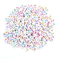 500Pcs Letter Beads Alphabet Beads Colors Acrylic Letter Beads A-Z Round Alphabet Beads for DIY Bracelet Necklace