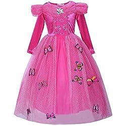 Pettigirl Niña Princesa Mariposas Lujoso Vestir Manga larga Cumpleaños Fiesta Disfraz , 6 años