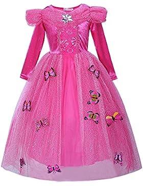 Pettigirl Niña Princesa Mariposas Lujoso Vestir Manga larga Cumpleaños Fiesta Disfraz