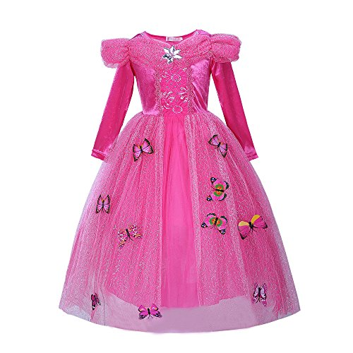 Pettigirl Niña Princesa Mariposas Lujoso Vestir Manga larga Cumpleañ