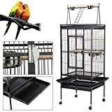 Popamazing Large Bird Breeding Cage/Aviary for Cockatoo/Parrot/Finch with Perch Stand and Wheels