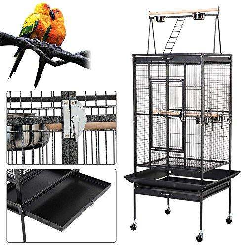 Yahee Vogelvoliere Vogelkäfig Vogelbauer mit 4 Rollen,5 Schüssel und 2 Holzsitzstangen, 80 x 76 x...