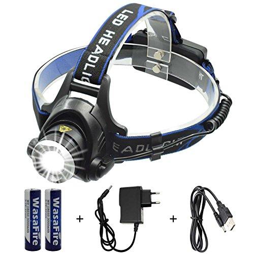 Wasafire LED Stirnlampe Wasserdicht USB Wiederaufladbare LED Kopflampe,XML-T6 4 Lichtmodi 2000lm, Perfekt für Camping,Joggen, Spazieren und andere Outdoor Sport