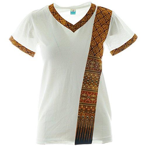 MyThaiMassage Thai-Massage T-Shirt mit Traditionellen Thai-Muster Größe: S - Farbe: Weiß (Massage-t-shirts)