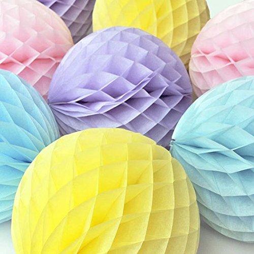 SUNBEAUTY 8er Set 20cm Rosa Hellviolett Gelb Hellblau Papier Tissue Mixed Wabenball Honeycomb Balls für Hochzeit Feier Newjahr Zeremonie Dekoration