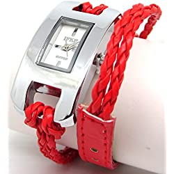 Ladies Oblong White Faced Watch with Red Plaited Multi Stranded Strap