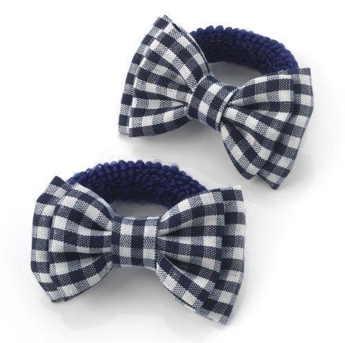 Gingham Hair Bows - 2 Girls Navy Gingham Bow Hair