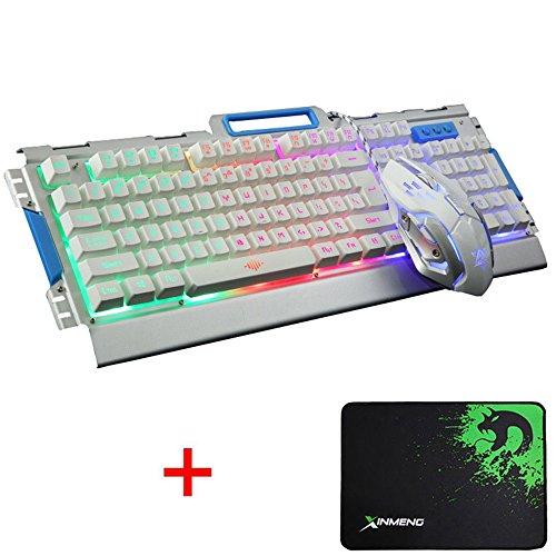 LexonElec K33 Gaming Tastatur Maus Combo Rainbow LED Hintergrundbeleuchtung Multimedia Ergonomische Usb Metall Panel Gaming Tastatur Wasserdicht + Atmen Licht 3200 DPI 6 Tasten Optische Gamer Maus Sets + Mousepad (K-33 / Weiß Silber)