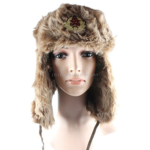 Russian Trapper Hat with Badge Cossack Ski Hat Winter Warm Thermal Brown