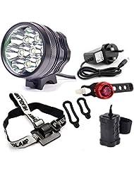 LED Faros Luces Delanteros de Bicicleta Headlight Linternas Frontales Recargables 8000 LM 7 x CREE XML T6 Lámpara de Bicicleta Focos Frontales con Batería y Cargador (13200 mAh Battery Pack)