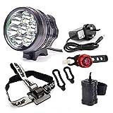 Fahrrad-Scheinwerfer, Jolliwin 9000 Lumen 7x CREE XM-L T6 LED Lampe, wasserdichter MTB Rennrad-Frontscheinwerfer-Scheinwerfer mit 8.4V Akku 13200mAh, Gebirgsfahrräder, ect