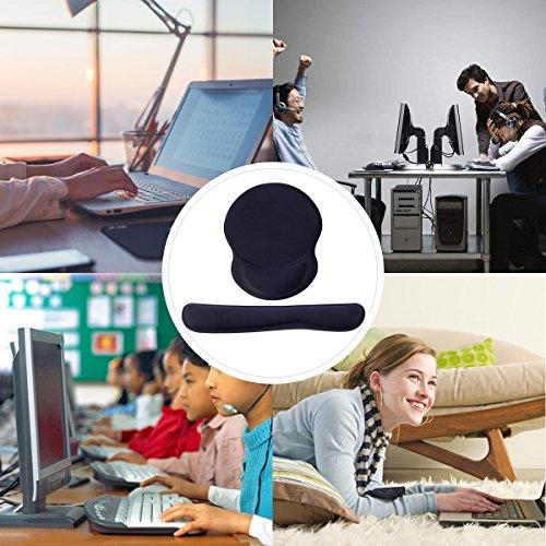 Mauspad und Tastatur Pad,LANMU Handgelenkauflage für Tastatur und Maus,Ergonomische Handauflage Auflage Matte Set für Gaming/Büro/Studium mit Reinigungsbürste - 6