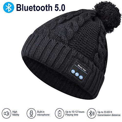 Cappello Bluetooth Regali Natale, Pompon Cappello Donna Invernali con Cuffie Bluetooth, Idee Regalo Donna Berretto Musica Bluetooth 5.0, Caldo e Morbido Cappello, Microfono e Batteria Ricaricab