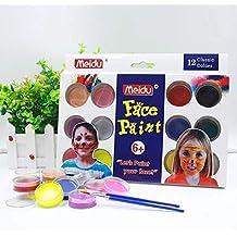 Face Paint, Professional 12 Colores + 2 Pinceles Kits de Pintura para niños | EN