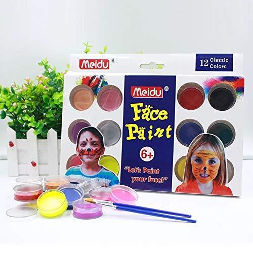 Gesichtsfarbe, Professional 12 Farben + 2 Bürsten Face Painting Kits für Kinder | EN-71 genehmigt Nicht giftig | Lebendige Farben | Cosplay Sicher Facepainting Kit (Gesicht Malen Giftig Nicht)