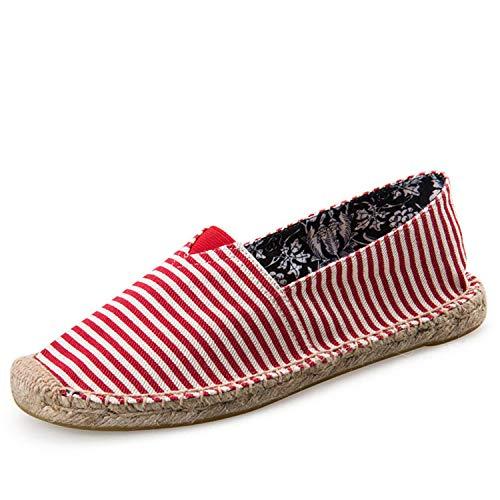 Mens Espadrilles Men Patchwork Slip On Summer Shoes Men Loafers 2019 Breathable Canvas Men Shoes Fashion Jute Wrapped D8004red11 10 Bass Loafers Men