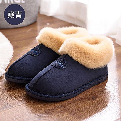 DogHaccd pantofole,In autunno e in inverno, pantofole di cotone femmina pacchetto spessa con anti-slittamento minimalista caldo indoor Home Home Il cotone pantofole inverno gli amanti Blu scuro1