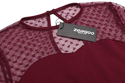 Zeagoo Elegant Damen Kleider Kurzarm Retro Vintage 50er Jahr Sewing Rockabilly Kleid Cocktailkleid Abendkleid Ballkleid (B)Weinrot