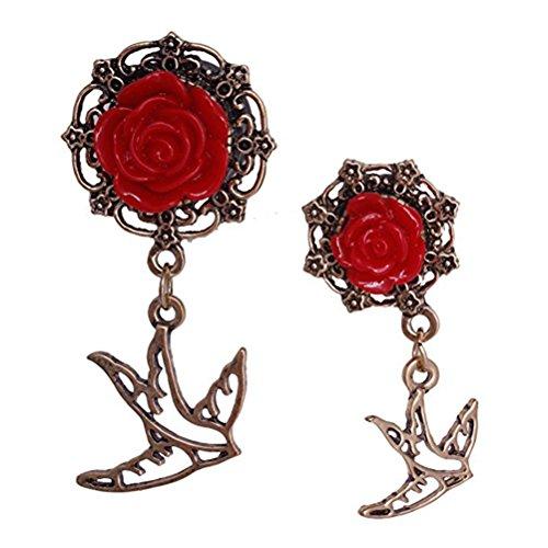 WINOMO 12 mm acrylique oreille tunnels Bouchons d'oreille de fleur rose en Lui (Rouge vif)