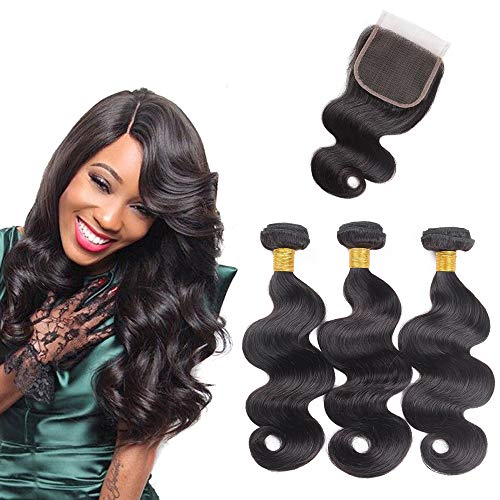 10A Brazilian Body Wave Virgin Hair 3 Bundles with Closure Unprocessed Human Hair Remy Human Hair Natural Black Colour (10 12 14+10 inches)
