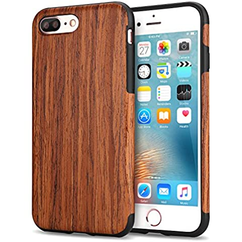 Funda iPhone 7 Plus, Tendlin Carcasa Madera Natural de Flexible TPU Silicona Híbrida Funda para iPhone 7 Plus (El Sándalo
