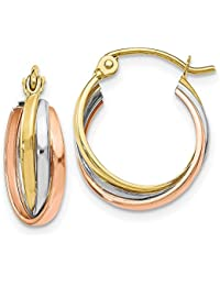 10k Tri-Color Gold Polished Hinged Hoop Earrings - Higher Gold Grade Than 9ct Gold