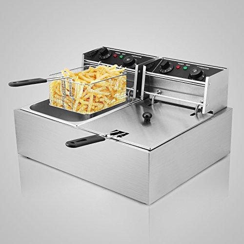 Buoqua 5000w friggitrice elettrica professionale capacità 12l friggitrice patatine fritte friggitrice per cucinare in casa o negozio con doppia vasche e timer
