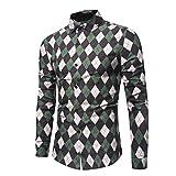 Herren Hemden,Sannysis Männer Freizeit Hemd Man Retro Floral Bedruckte Bluse lässig Langarm Slim Shirts Tops (3XL, Grün)